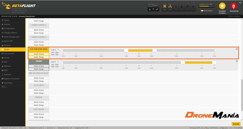 configurar anti turtle mode en betaflight