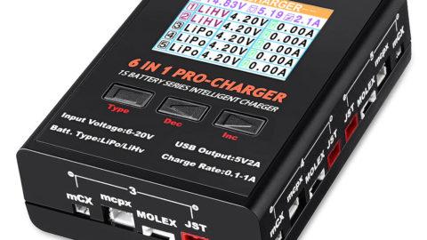 URUAV 6 in 1 PRO 5X4.35W 5X1A Cargador de baterías 1S